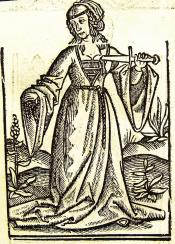 Het Huys der fortunen 1518,  Lucresia. Uit: Ary Delen, 'Illustraties met vervangbare stukken' De Gulden Passer 1 (1923), 30-31.